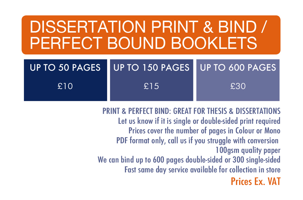 Set cost Dissertation print and binding prices