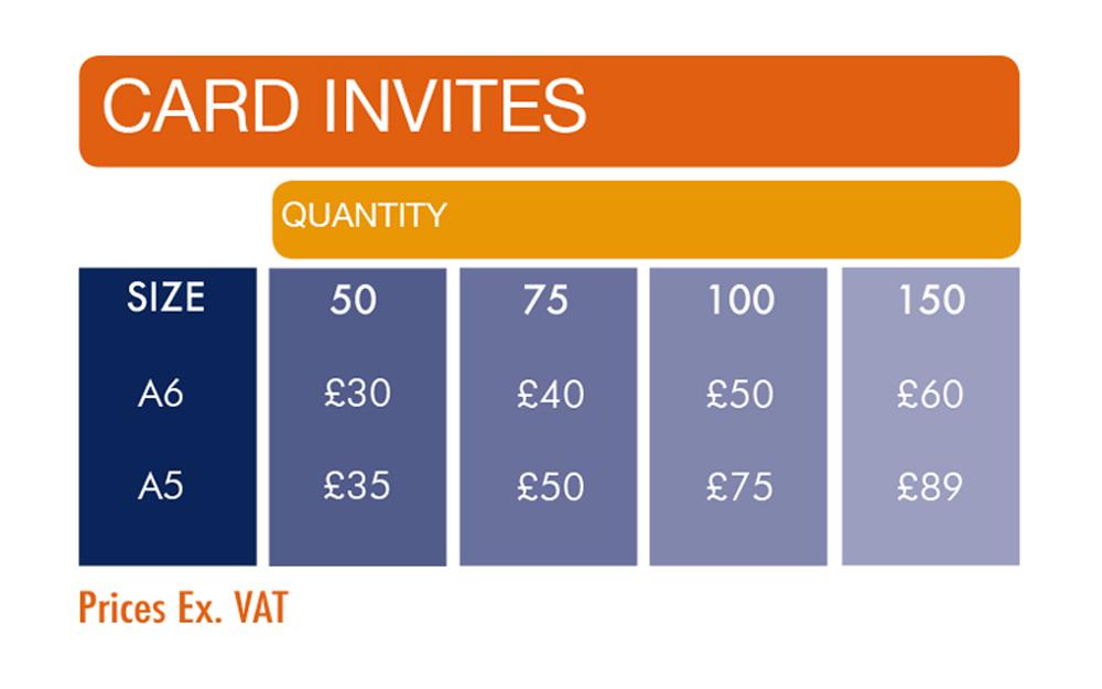 Invitation print prices