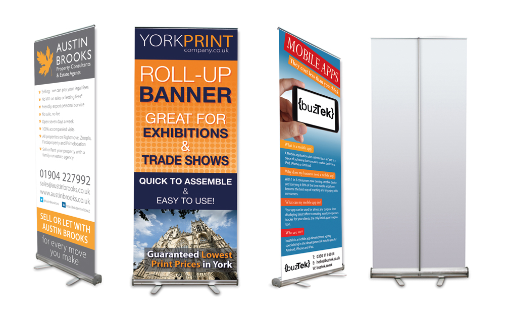 Roller banner printed on the same day