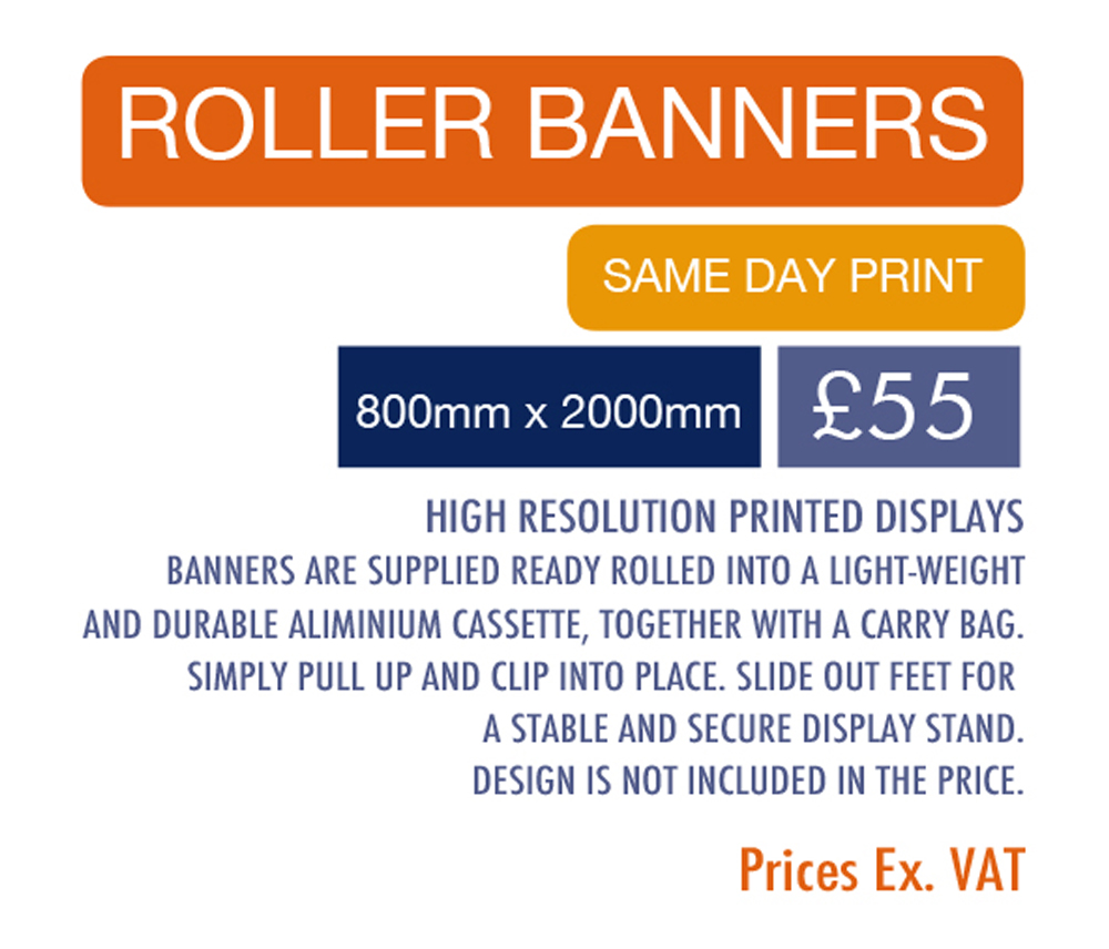 Roller banner with same-day printing
